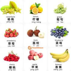 Mandarin Chinese words for the nine fruits. Chinese Lessons, Learn Mandarin, Chinese Words, Learn Chinese, Chinese Language, Food Words, Chinese Characters, Ancient China, Blueberry