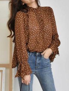 Polka Dot Top, Blouse, Pattern, Tops, Women, Fashion, Moda, Fashion Styles, Patterns