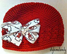 Kansas City Chiefs Baby Girl Boutique Bow Crocheted Hat on Etsy, $10.00