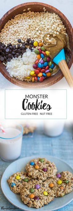 Monster Cookies / These gluten free and nut free monster cookies are great for school parties! A classic Halloween Cookie made healthier.