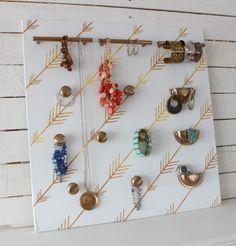 Easy DIY Cabinet Hardware Jewelry Organizer - The Happy Housie