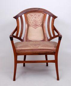 Henry van de Velde - Armchair with upholstery designed by Dutch painter Jan Thorn-Prikker, 1899 Art Nouveau Interior, Art Nouveau Furniture, Antique Furniture, Chair Design, Furniture Design, La Haye, Art Deco Chair, Jugendstil Design, Modernisme