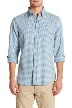 Trim Fit Indigo Flannel Long Sleeve Shirt