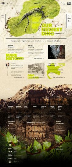 Dino Hunt Canada - History Channel on Behance Website Layout, Web Layout, Layout Design, Web Ui Design, Page Design, Branding Design, Branding Agency, Website Design Inspiration, Design Ideas