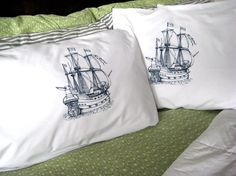 Screen Printed Nautical Pillow Cases (set of 2 standard) - Pirate Ship Pillow Covers - Eco Friendly Bedding - Nautical on Etsy, $22.00