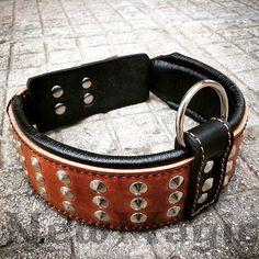Brown and black Custom Dog Collar with 3 rows wide studs/ handmade dog collar/ Leather dog collar/ Pet collar/ Custom Collar/ NM131215