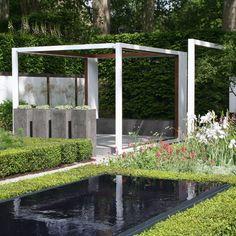 Nice pots to put against dark trellis', against wall in shower patio!! Landform Consultants