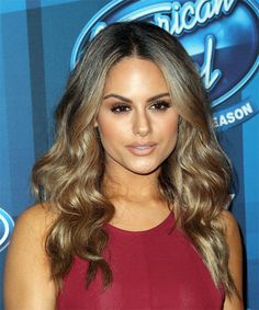 Pia Toscano Long Wavy Formal Hairstyle - Dark Brunette Hair Color with Dark Blonde Highlights - Lobfrisuren Dark Brunette Hair, Brunette Color, Wavy Hairstyles, Formal Hairstyles, Dark Blonde Highlights, Oblong Face Shape, Shades Of Blonde, Long Wavy Hair, Hairstyle Look