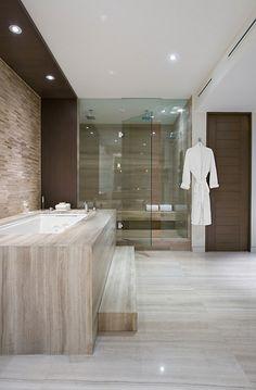 Bathroom in neutral tones, Miami Beach project by Sojo Design _