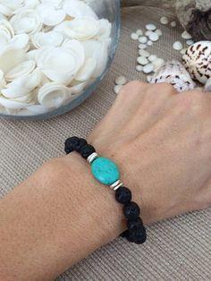 Black Lava Rock Diffuser Bracelet with Turquoise by SimplyQuinns Lava Bracelet, Gemstone Bracelets, Handmade Bracelets, Bracelets For Men, Jewelry Bracelets, Handmade Jewelry, Making Bracelets, Paracord Bracelets, Silver Bracelets