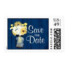 Mason Jar Sunflowers Daisies Save the Date Postage