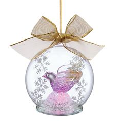 Inside the ball ornament sits a purple glass dove. Description from homeclick.com. I searched for this on bing.com/images