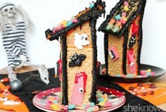 A graham cracker haunted house is a perfectly spooky food craft for kids this Halloween