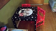 mickey mouse and minnie mouse table and matching chairs.