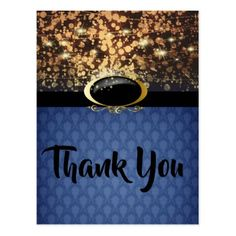 Bethany Blue & Gold Elegant Thank You Postcard - postcard post card postcards unique diy cyo customize personalize