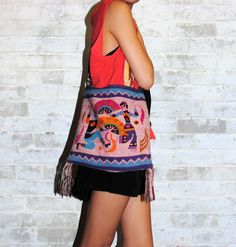 Vintage 80's Tribal Sling Bag with Embroidery by fivestonesvintage,