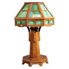 Arts and Crafts Wood Table Lamp  United States, Circa 1910