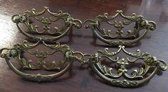 """Antique Victorian Brass Drawer Pulls 4 3.5"""" Ornate    eBay"""