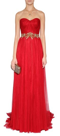 Radiant in scarlet silk, Marchesa's embellished waist evening gown features shimmering metallic gold embroidery and a stunning drape