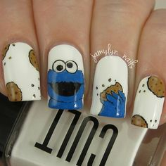Instagram media by jamylyn_nails - My 'cookies' nails for #randomnailartmar! I've seen so many #cookiemonster nails over the years and I finally decided to try my own  They make me smile! I used @cultcosmetics 'El Porto' for the base and acrylic paints for the rest. You can use code JAMYLYN to get 15% off your #cultcosmetics order.