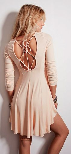 Lace Back Pleated Pink Dress