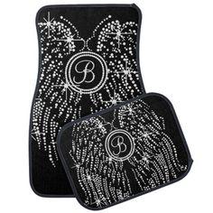 Shop B 1101 Bling Wings W Monogram Script Font Car Mat Created By FashionLeader