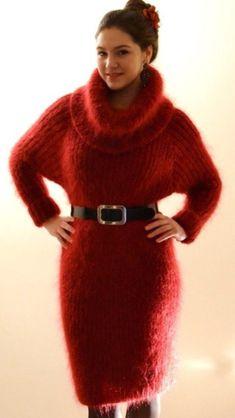 Long Sleeve Sweater Dress, Crop Top Sweater, Jumper Dress, Wool Dress, Knit Dress, Thick Sweaters, Sweaters For Women, Gros Pull Mohair, Angora Sweater