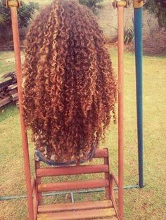 Long naturally curly hair. So curly and beautiful color.