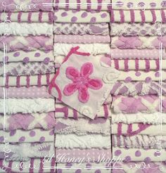 """Chenille fabric quilt squares 42-6"""" blocks, purple, lavender, lilac, flower, very shabby chic, vintage bedspread fabric by lilhoneysshoppe on Etsy"""
