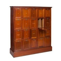 Mahogany File Cabinet with Alphabetized Compartments | From a unique collection of antique and modern cabinets at https://www.1stdibs.com/furniture/storage-case-pieces/cabinets/