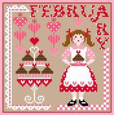 Miss February Calendar Girls Series Cross Stitch PDF chart Modern Cross Stitch Patterns, Cross Stitch Charts, Counted Cross Stitch Patterns, Cross Stitch Designs, Cross Stitch Embroidery, Chart Design, Pattern Design, Calendar Girls, January Calendar