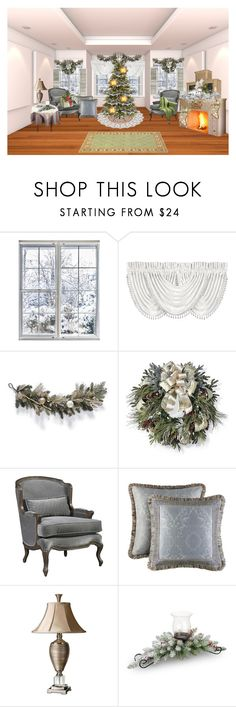 """Elegant White Christmas Sitting Room"" by bamasbabes on Polyvore featuring interior, interiors, interior design, home, home decor, interior decorating, J. Queen New York, Frontgate, National Tree Company and Uttermost"
