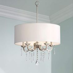 "Georgiana 20"" Wide White Shade Chandelier - #6D272 