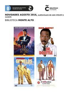 Novos audiovisuais do mes de agosto na sala infantil e xuvenil da biblioteca Monte Alto.