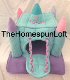 Floorless Hedgehog Fleece Castle House with Drawbridge Made to Order Item Any Color Combo