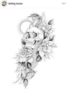 Dream Tattoos, Badass Tattoos, Cute Tattoos, Leg Tattoos, Body Art Tattoos, Tatoos, Floral Tattoo Design, Skull Tattoo Design, Tattoo Design Drawings