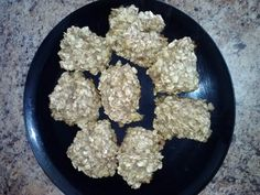 4 ingredient toddler breakfast cookies...oatmeal, mashed bananas, honey, and cinnamon.  Baked at 350 for 20 mis.  Ellyn approved!