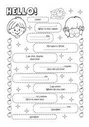 English worksheet introducing yourself english exercises english exercises greetings m4hsunfo