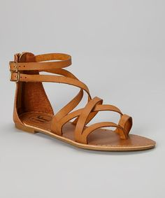 Tan Strappy Crisscross Sandal