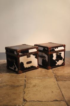 Good Pair of Bespoke Cow Skin Leather Trunks.