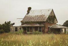 field of dreams, no more old unique brick farmhouse, abandoned Virginia