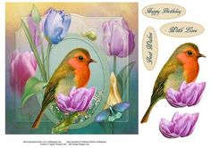 Spring Robin Tulips Topper with Decoupage on Craftsuprint - Add To Basket!