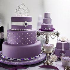 purple tiered cake. so pretty.