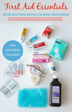 The First Aid Essentials (An ER Doctor's Advice on Must-Have Items) from MomAdvice & @bhglivebetter.  FREE First Aid Printable #BHGLiveBetter