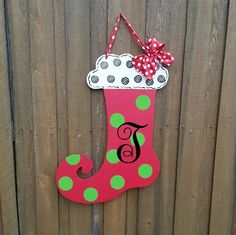 Christmas Stocking Door decoration with Initial
