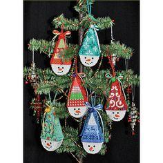 Tree of needlepoint Snowcones, Kirk & Bradley canvas ornaments