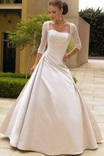This wonderful Wedding Dresses  Classic A-Line Style With Fancy Lace Detail And Smooth Long Skirt Wedding Dress  This beatiful women wedding dress use the Satin material, the front Strapless neckline compose this elegant and charming dress. A-line outline match with your unique and sexy appeal.Dressaler.com offer you the best Wedding Dresses With Sleeves There must be one for you. - $161.09