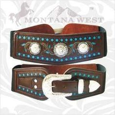 """Genuine Leather Western Belts with lots of bling by MONTANA WEST! THESE ARE STRETCH WAIST BELTS WITH A GORGEOUS LOOK AND FEEL!   See size chart below.   XSmall =24-26""""  Small = 26-28""""     Available in black."""