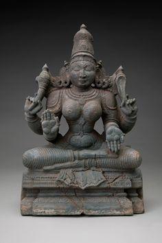Tripurasundari Hindu goddess of the 3-tiered city of gold.  She embodies the determination of Kali and the grace of Durga. ca. 15-17 C. S. India, gabbro stone