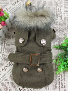 Thick Warm Small Dog Puppy Pet Clothes Apparel Woolen Cloth Outcoat for Winter | eBay. Love this for Lucy